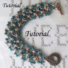 Items similar to Tutorial - Beaded Chainmaille Bracelet - on Etsy Wire Wrapped Jewelry, Wire Jewelry, Jewelry Crafts, Jewelery, Handmade Jewelry, Unique Jewelry, Jewelry Ideas, Chainmaille Bracelet, Diy Bracelet