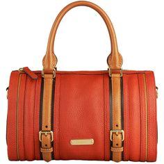Medium Leather Bowling Bag ($1,495) ❤ liked on Polyvore featuring bags, handbags, purses, bolsas, burberry, women's bags, red handbags, burberry handbags, genuine leather handbags and red leather handbag