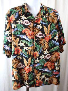 Reyn Spooner Mens San Francisco Giants Hawaiian Shirt Hibiscus Size Large #sfgiants #ReynSpooner #Hawaiian