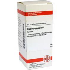 HAPLOPAPPUS D 6 Tabletten:   Packungsinhalt: 80 St Tabletten PZN: 04219586 Hersteller: DHU-Arzneimittel GmbH & Co. KG Preis: 5,95 EUR…
