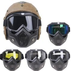 230c4a9b professional Retro Motorcycle helmet Goggle Mask Vintave mask open face  helmet cross helmet goggle 5 color available CE approved.