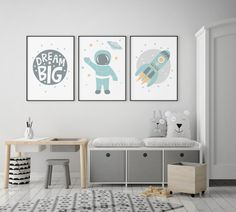 Baby Nursery Wall Art Canvas Painting Astronaut Space Rocket Print Dream Big Scandinavian Poster Nordic Boys Bedroom Decoration The poster is printed on Canvas what is one kind o… Space Illustration, Boys Bedroom Decor, Boys Space Bedroom, Baby Bedroom, Boys Bedroom Paint, Bedroom Green, Bedroom Colors, Bedroom Wall, Baby Boy Rooms