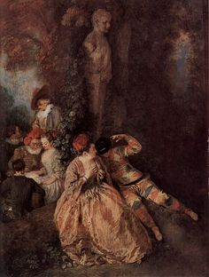 Jean-Antoine Watteau (French Rococo Era Painter, -Harlequin and Columbine Francisco Goya, Rococo Painting, Jean Antoine Watteau, Renaissance, Pop Art, French Paintings, Oil Paintings, French Rococo, Painting People