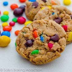 Soft-Baked Peanut Butter Monster Cookies - delicious! plus they stayed soft for an entire week, I used mini M & Ms and mini chocolate chips