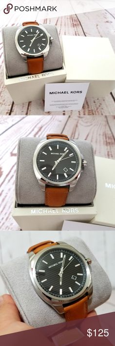 9bf277feee18 NWT Michael Kosr Bryson Brown Leather Watch MK8659 ***100% GUARANTEED  AUTHENTIC OR YOUR MONEY BACK!*** ~BRAND NEW~ Style #: MK8659 This 42mm  Bryson watch ...