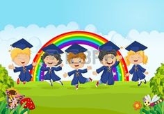 Happy Little Kids Graduation Celebration On Stock Illustration 320583416 Graduation Songs, Graduation Picture Poses, Kindergarten Graduation, Graduation Celebration, Graduation Pictures, Graduation Templates, Free Vector Illustration, Illustrations, Rainbow Background
