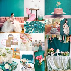 Teal, Pink & Silver wedding colors