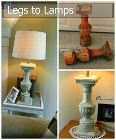 Love lamps and what a great way to repurpose old chunky wooden legs!