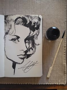 Indian ink sketches in a moleskine sketcbook by Lianne Williams. Portrait.