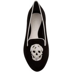 Alexander McQueen Black/Ivory Suede Sequin Skull Slippers ($645) ❤ liked on Polyvore