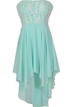 Crème de Menthe Fabric Piping High Low Dress www.lilyboutique.com