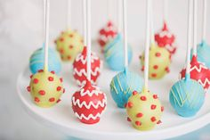 Chevron, polka dot and swirly cake pops for SmashCake & Co. Merry & Bright Christmas Party :: Cake pops by Sweet Peas Cake Pops & Treats