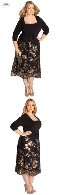 IGIGI Plus Size Keira Beaded Dress 14/16, This lavishly beaded plus size Keira Dress softens its dramatic visual effect with alluring rushing at the waist and beaded tulle fabric skirt with two-tone sequin embroidery. Slip on gold or black st..., #Apparel, #Night Out & Cocktail