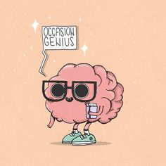 Nerdy brain character by Zombijana Bones. A great example of the pastels and pinks of decade of design. Cartoon Pics, Cartoon Drawings, Art Drawings, Brain Illustration, Character Illustration, Human Brain Drawing, Durga, Cartoon Heart, Brain Art