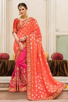 Peach & Pink Color Jacquard Fabric Saree