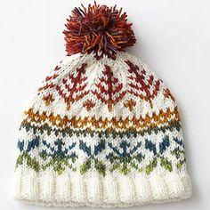 Ravelry: Fair Isle Hat #6209 pattern by Bernat Design Studio.  Good starter pattern for fair isle knitting.