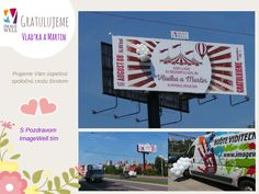 Wedding surprise = 10m wide pvc banner, print, balloons. Svadobné prekvapenie a darček v podobe bigboardu s balónmi