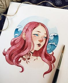 Finished this gnarly piece today I thought I'd add waves as a background because her hair reminded me of a giant red octopus, but NOW ALL I CAN THINK OF IS HOW MUCH SHE LOOKS LIKE ARIEL!! On another note, this was my first attempt at drawing waves and it was really fun! 10/10 will attempt again