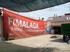 FIMALAGA Banderola promocional especialmente diseñada para ser arrastrado por una avioneta. Destino Málaga. Visto en las playas de Torremolinos, Benalmádena y alrrededores.