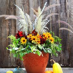 DIY Fall & Thanksgiving Decorations Planter {So Easy!} DIY beautiful outdoor fall & Thanksgiving Decorations planter in 20 minutes with mostly free materials! So easy & long lasting. - A Piece of Rainbow Christmas Planters, Fall Planters, Outdoor Christmas Decorations, Christmas Centerpieces, Thanksgiving Decorations, Christmas Wreaths, Christmas Crafts, Fall Decorations, Centerpiece Decorations