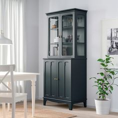 LOMMARP Cabinet with glass doors, dark blue-green, 33 - IKEA Great linen cabinet option Glass Cabinet Doors, Sliding Glass Door, Glass Shelves, Glass Doors, Tall Cabinet With Doors, Ikea Cabinets, Storage Cabinets, Tall Cabinet Storage, China Cabinets