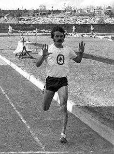 Steve Prefontaine wins the 3000m race in the first meet of the Finnish Tour on the Madras High School track, Madras, Oregon, May 4, 1975