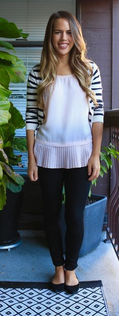 Jules in Flats - Business Casual Work Outfit Idea - Peplum Top, Striped Cardigan + Black Skinny Jeans