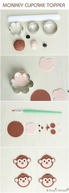 Tutorial with Step by Step Instructions & Photos - How to Make a Fondant Monkey . Tutorial with Step by Step Instructions & Photos – How to Make a Fondant Monkey Cupcake Topper / Fondant Monkey, Monkey Cupcakes, Animal Cupcakes, Fondant Cupcakes, Fondant Toppers, Cupcake Cakes, Kid Cakes, Fondant Bow, Fondant Flowers