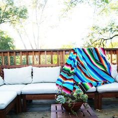 "Bright colored Mexican blanket 81"" x 62""   We. Love. These. Blankets.   Seriously, cannot get enough. I want to recover my dining chairs, car seats, my dog's le"