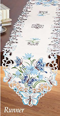 Light Blue Embroidered Butterfly Floral Table Linen Runner
