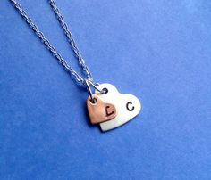 Double Heart Initial Necklace Couples gift by LaurenElaineDesigns, $12.95