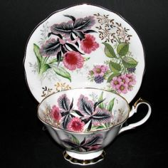 Queen Anne Black Pink Flowers Teacup and Saucer