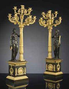A PAIR OF RESTAURATION ORMOLU AND PATINATED BRONZE TEN-LIGHT CANDELABRAS, CIRCA 1820