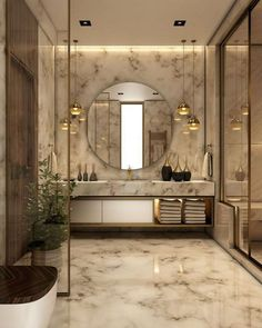 "Sophisticated bathroom design style with a vanity mirror. A mirror doesn't lie"" as it provides you with clear, crisp and impeccable reflection. Sophisticated bathroom design style with a vanity mirror. Modern Bathroom Lighting, Modern Bathroom Design, Bathroom Interior Design, Modern Interior Design, Bath Design, Luxury Interior, Contemporary Bathrooms, Bathroom Designs, Modern Luxury Bathroom"