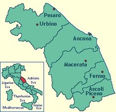 The Marche region composed of five provinces: Pesaro & Urbino, Ancona , Fermo and Ascoli Piceno.
