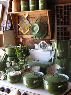Green Dutch Enamelware - Came through Ellis Island over 100 years ago - Pristine!