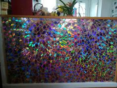 """""""Iridescent"""", cut-up DVDs on plywood, 4 ft by 10 ft : Art"""