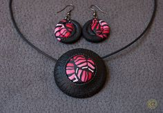 Bright, summer, abstract set of polymer clay pendant and earrings. by Etniika on Etsy