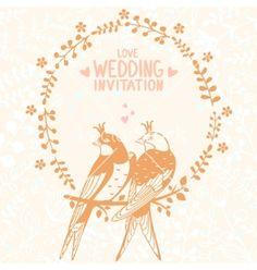 Swallows wedding invitation vector by Julija on VectorStock®