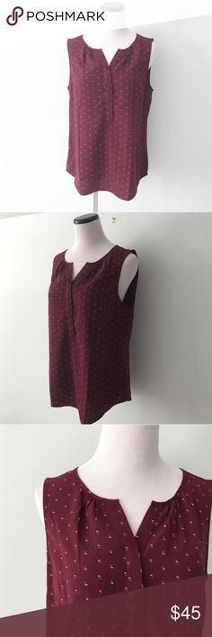 TALBOTS Maroon print sleeveless Dressy Top Martin dressy top with v-neck. Small print throughout. No flaws, gently worn. Talbots Tops