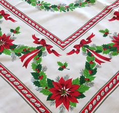 Vintage Christmas Poinsettia Tablecloth Holly by AStringorTwo