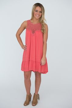 a408ce5ce40 Crochet Top Sleeveless Ruffle Dress - Coral - Magnolia Boutique Boutique  Dresses