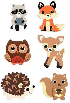 Natural Wood Painted Woodland Creatures Cutouts- 6 Count - Hedgehog, Squirrel, Owl, Deer, Fox and Raccoon Quilt Baby, Woodland Theme, Woodland Baby, Forest Animals, Woodland Animals, Baby Motiv, Animal Cutouts, Woodland Creatures, Felt Ornaments