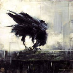 """littlelimpstiff14u2: """"  Frans de Waal - Public Page         CROW Painting by Lindsey Kustusch, how accurate yet impressionistic! """""""