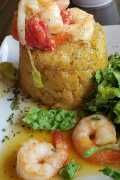 Mofongo topped with saucy shrimp is a Puerto Rican favorite. Shrimp Stew, Shrimp Risotto, Seafood Stew, Seafood Salad, Spicy Shrimp, Grilled Shrimp, My Colombian Recipes, Colombian Food, Mofongo Recipe
