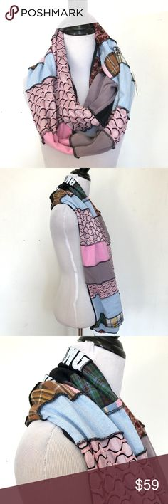 """Handmade Patchwork Circle Infinity Scarf OOAK Handmade Patchwork Circle Infinity Scarf Black Pink Blue Striped Plaid Cotton  Trixy Xchange handmade patchwork infinity scarf! Upcycled and sewn together. You can wear this so many ways! Incredibly soft and stretchy. Underside is lined in a soft cotton blend knit.  14.5"""" Wide x 72"""" Long  Can be used as an infinity scarf, head scarf, hijab, or shawl! Medium weight and warm  Great for Burning Man, festivals, edm events/edc, or the perfect pairing…"""
