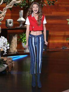 Gigi Hadid Flaunts Toned Midriff In Tommy Hilfiger Collection On 'ELLEN'