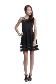 A-line Dress with Mesh Border