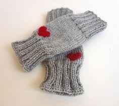 heart fingerless gloves ,wrist warmers ,soft fingerless mitts ,knit women accessories winter fingerless gloves senoAccessory by senoAccessory on Etsy