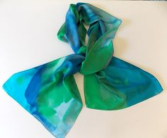 Silk ScarfHand designedWomen's Fashion Blues by MysticSilks